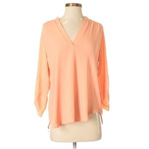 Gibson Latimer peach coral 3/4 v-neck blouse -S